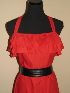 Saturday NIGHT Fever Studio 54 Sexy RED Dress // Frilly Ruffle Flounce New Raves Size 9 Halloween Costume 70's 80's