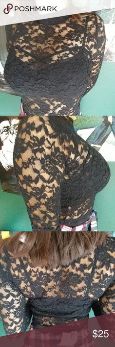Black lace long sleeved tee under 25 AMAZING bralettes also on sale in my closet Tops Tees - Long Sleeve