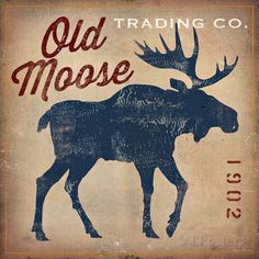 Old Moose Trading Co.: Vintage moose poster for Canadian Themed room
