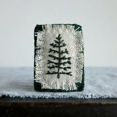 Evergreen Tree Hand Embroidered Brooch Winter Coat Accessory Jewelry... (€25) ❤ liked on Polyvore featuring jewelry and brooches