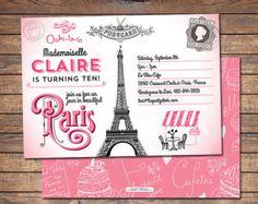 Invitación de cumpleaños de Paris, París fiesta invitación, invitación de París, París cumpleaños invitación fiesta imprimible