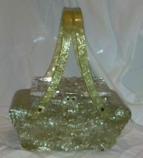 VINTAGE GOLD PEARLIZED LUCITE HANDBAG PURSE W ETCHED GLASS LID PATRICIA OF MIAMI