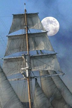 Love tall ships in the Moonlight Moby Dick, Shoot The Moon, Beautiful Moon, Sail Away, Over The Moon, Tall Ships, Water Crafts, Sailing Ships, Sailing Boat