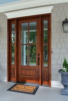 """New No Cost Farmhouse Front Door sidelights Concepts Interior designers often make reference to art as """"the jewelry of the house,"""" but as it pertains Exterior Doors With Sidelights, Wood Entry Doors, Mdf Doors, Exterior Entry Doors, Exterior Doors With Glass, House Front Door, Glass Front Door, Stained Front Door, Craftsman Front Doors"""