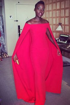 ralph lauren red silk caped gown l lupita nyong'o.