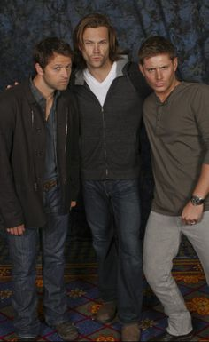 Supernatural. These three...I would love to be in the same room with at any time. Awesome people // Jared and Jensen have their 'Blue Steel' looks on. Misha, I figure, is going for 'Blue Angel'. NAILED IT! :-)