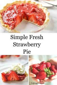 Simple Fresh Strawberry pie easy to make without using Jello. If you love going strawberry U-Pick you will love the simple fresh taste of this pie. Healthy Pie Recipes, Cream Pie Recipes, Dessert Recipes, Easy Recipes, Brunch Recipes, Fresh Strawberry Pie, Strawberry Recipes, Easy Summer Desserts, Summer Recipes