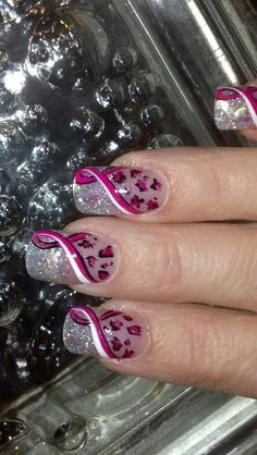 Cute Breast Cancer supporter! Hand Painted Nail Art: #awareness #breastcancersupporter
