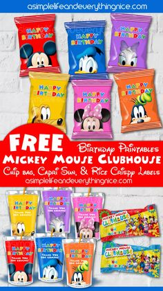 Free Mickey Mouse Clubhouse Birthday Chip Bag Labels, Rice Krispy Treat Wrappers and Capri Sun Printable Labels - A Simple Life and Everything Nice Mickey Mouse Treats, Theme Mickey, Mickey 1st Birthdays, Mickey Mouse Clubhouse Birthday Party, Mickey Mouse Parties, Mickey Birthday, Mickey Party, 2nd Birthday, Mickey Mouse Party Favors
