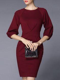 Shop Midi Dresses - Wine Red Plain Spandex Balloon Sleeve Sheath Midi Dress online. Discover unique designers fashion at StyleWe.com.