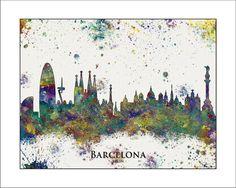 Skyline von BARCELONA, Barcelona, Karte von Spanien, Karte von Barcelona, bemalte Karten, Splatter, Art, Sonderkarten, Spanien    -Alle unsere