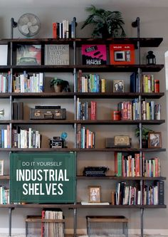 DIY // Industrial Shelves for a Home Library