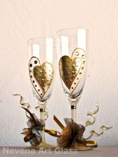 Gold Hearts Wedding Champagne Toasting Glasses by NevenaArtGlass, $49.90