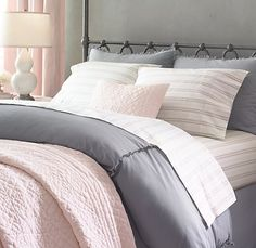 Bedroom Argh I hate finding exactly what you want at a price you don't want to pay. Home Goods don Pink And Grey Bedding, Pink Gray Bedroom, Pink Bedroom Decor, Pink Bedrooms, Pink Bedding, Bedroom Inspo, Dream Bedroom, Master Bedroom, Luxury Bedding