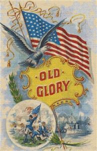 This is an advanced cross-stitch poster design of Old Glory, depicting a deep feeling of patriotism for America. It's a vintage art form showing the American flag, the Bald Eagle, as well as old battle scenes. I Love America, God Bless America, America America, Vintage Cards, Vintage Postcards, Vintage Paper, Vintage Images, American Flag, American History