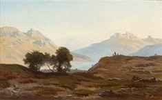 See-Gebirgslandschaft im sonnigen Licht by Georg Eduard OttoSaal Painting, Art, Mountain Range, Landscape, Art Background, Painting Art, Kunst, Paintings, Performing Arts