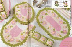 Crochê da Reh: Jogo de Banheiro Rosa e Verde com Flores