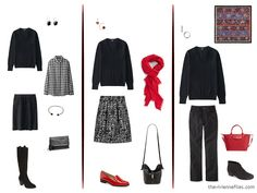 three ways to wear a black v-neck sweater