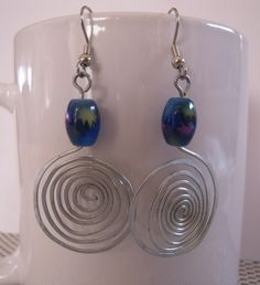 Spiral Wired Blue Earrings