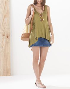 V neck asymmetrical top