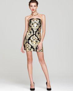 Aidan Mattox Strapless Dress - Appliqué | Bloomingdale's