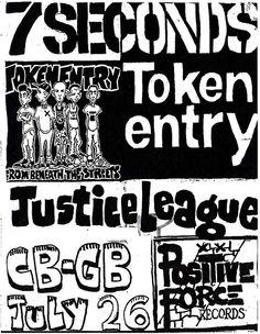 7 Seconds, Token Entry, Justice League punk hardcore flyer