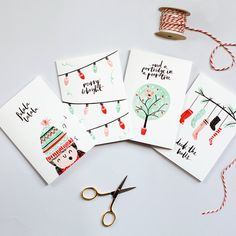 Spread some Christmas cheer with this charming set of cards. Originally hand illustrated with watercolour, ink and a whole lot of love. Each