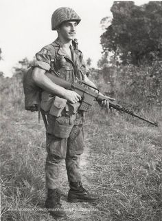 Portuguese special forces paratrooper with a colt ar10. Later replaced for the German G3.