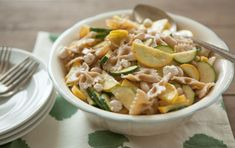 This one-dish family pasta meal with crisp-tender summer squash, creamy white beans and tangy dressing is a cinch to make. Also makes a fabulous picnic dish.