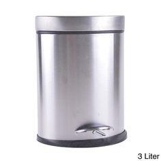Stainless Steel Trash Can Metal Silver Bathroom Office Step Garbage Wastebasket