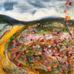 A riot, encaustic on board Isabelle Gaborit 2017