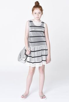 Designer Dresses For Kids, Designer Kids Clothes, Striped Dress, White Dress, Karl Lagerfeld Kids, Monochrome Fashion, Under Dress, Gathered Skirt, Two Piece Dress