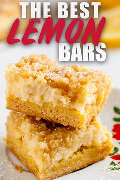"These Lemon Bars are the absolute best lemon bars you'll ever have, promise! Everyone I make these for RAVES about them. This easy recipe uses cream cheese in the filling and the crust is made with cake mix. It might not be your ""typical"" lemon bar recipe, but it's definitely the tastiest! #lemon #bars #recipe via @heatherlikesfood"