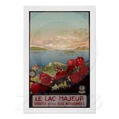 Vintage romantic Lake Lago Maggiore Lac Majeur Italian Travel advertising poster