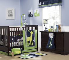 Glamorous Baby Boy Room Pictures With Blue And White Themed Baby Boy Nursery Room Design Ideas With Elegant Brown Wood Rectangular Baby Crib Furniture With Giraffe Pattern Bedding : Inspiring Baby Boy Room Pictures