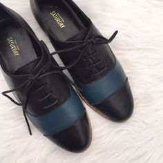 Kate Spade Saturday Color Block Blue Black Oxfords NWOB • Condition: please see pictures. Leather needs light condition to get rid of marks from store handling. Nothing major. • NO TRADES kate spade Shoes