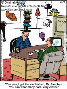 """Idiom related comic - """"wearing many hats"""". If someone wears many hats, they have different roles or tasks to perform."""
