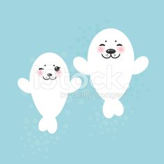white fur seal pups, cute winking seals with pink cheeks royalty-free stock vector art