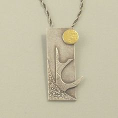 Sunrise: Textured oxidised sterling silver pendant with Keum Boo fused gold. £84.00