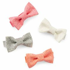 4-Pack Glitter Bow Clips