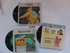 Sesame Street 1970 Books and 45 RPM Records Vintage Sesame St Goin For a Ride I Love Trash Letters The Skin I'm In Safety Boy Blues books by VigorouslyVintage on Etsy