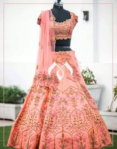 Classic colour and heavy hand made embroidery on blouse makes this lehenga more beautiful. They can customise the colour and size as per your requirement.To Order  : whatsapp +91 8142029190/ 9010906544  11 April 2018
