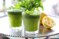 Ice Limonana - Mint Lemonade by lizsteinberg: Simple and refreshing whether served on ice or blended in a smoothie, big, green frothy and very cold. #MInt #Lemonade #Limonana #lizsteinberg