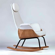 Mecedora Lactancia NANA Chair. Nana is modern rocker for new moms made with an oak wood, black steel, and white Gabriel fabrics. It also includes a storage footrest.