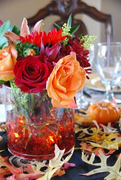 Centerpiece for Thanksgiving dining table