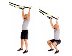 TRX Overhead Squat Stand Facing  Builds postural muscles while strengthening lower body.  Tips: Extend arms fully overhead, pulled back adjacent to ears. Do not bend forward during squat.  Adjustment: M