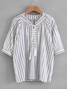Tassel Tie Striped Blouse -SheIn(Sheinside)