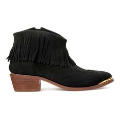 H by Hudson Black Tala Suede Leather Fringe Ankle Biker Shoes Boots 5 38 New #HbyHudson #AnkleBoots #Casual