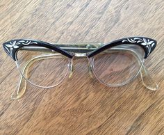 Vintage Art Craft Cat Eye Glass Frames Black Aluminum Metal Eyeglasses Flowers b