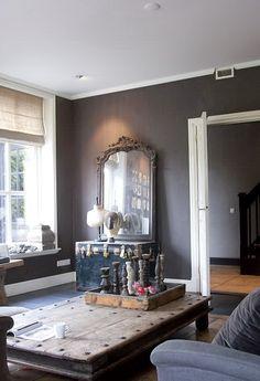 Dark Grey Walls Bare Wood Table Linen Sofa Modern Country Living Room